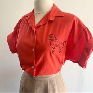 Vintage Red A Plus Poodle button up shirt